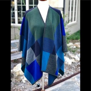 Coldwater Creek color block wool blend wrap